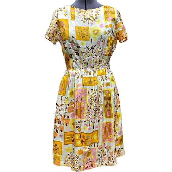 Vintage yellow and pink bird  dupioni silk  novelt