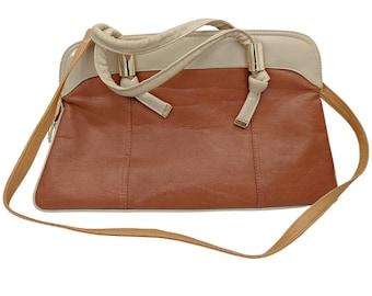 Vintage 3 tone cream and brown leather shoulder handbag purse, detachable strap in 3rd brown tone