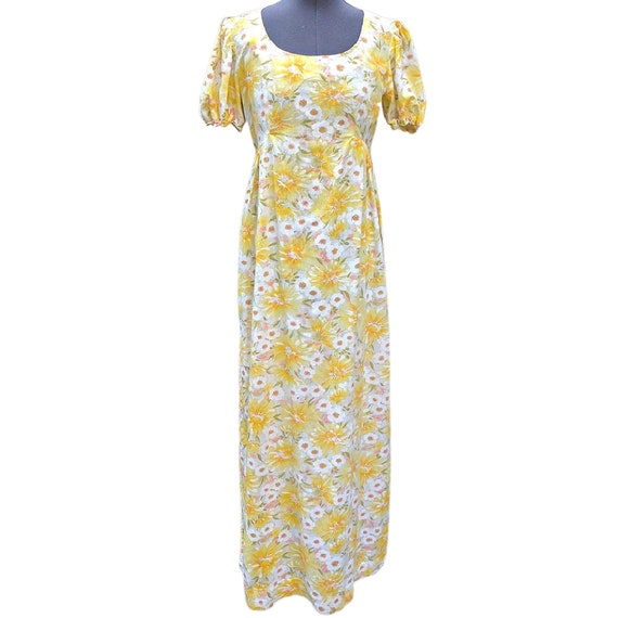 Vintage yellow and white floral soft cotton maxi d