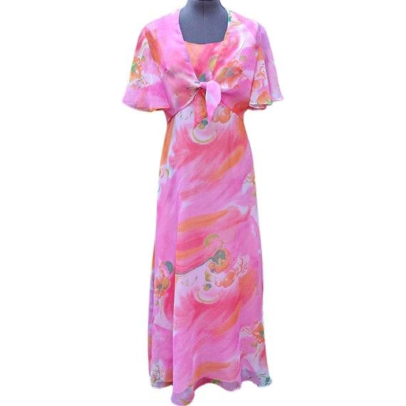 Vintage pink maxi dress with matching sheer jacket