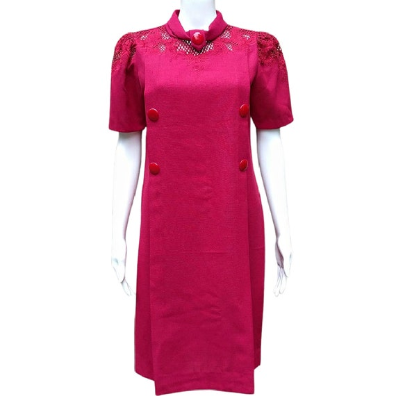Vintage raspberry red stiffened linen shift dress