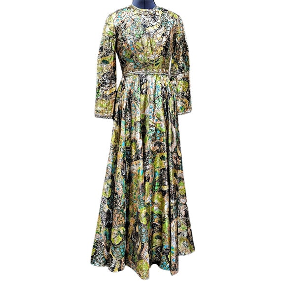 Vintage 1960's green gold lamé gown with beaded bo