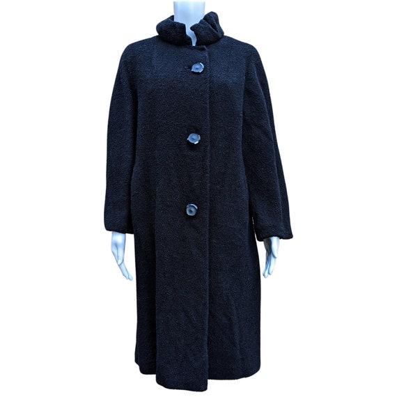 Vintage 1960's black chenille coat