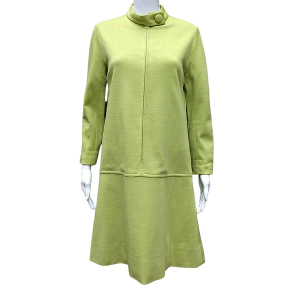 Vintage chartreuse mod zipper front dress by Marie