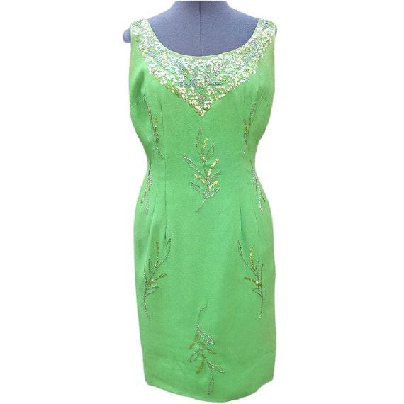 Vintage apple green silk chiffon dress with beadin
