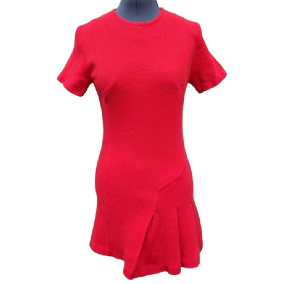 Vintage 1960's red wool micro mini tennis dress