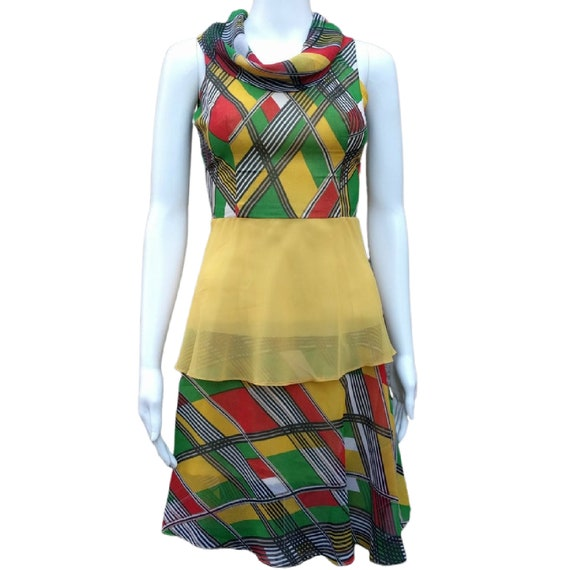 Vintage yellow, green and red silk chiffon dress