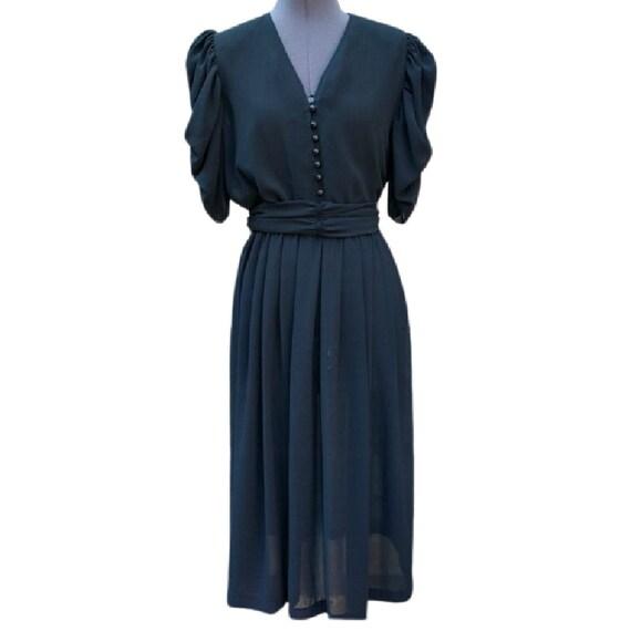 Vintage 1970's black semi sheer button front dress