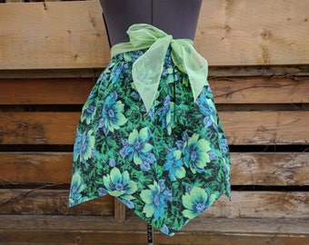 Beautiful vintage 1950's Double sided Blue and Green Flowered Half Apron