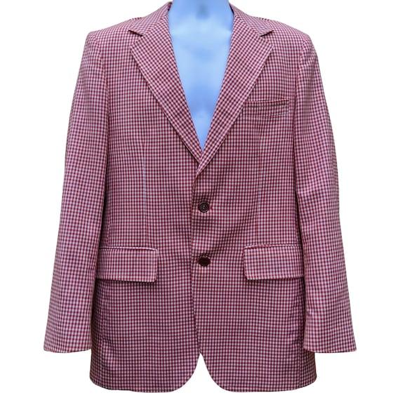 Vintage red gingham polyester sport coat