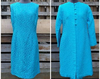 Vintage 1960's Jackie Kennedy style teal turquoise jacket and lace dress suit set
