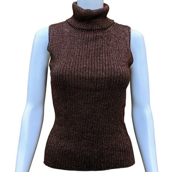 Vintage 1990's copper sleeveless silk metallic kni