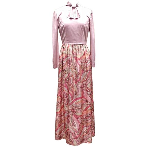 Vintage pale pink metallic maxi dress