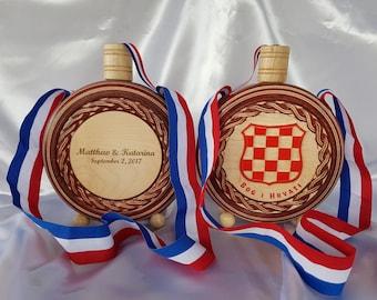 Croatian Inspired Wedding Garters Croatian Flag Colors Wedding Garters Country Wedding Garters Croatian Inspired Bridal Garter Belt.