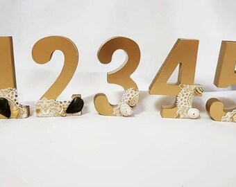 Beach Theme Wedding Table Numbers with Lace and Shells, 1-10 or more, Wooden Numbers, Choose Your Color