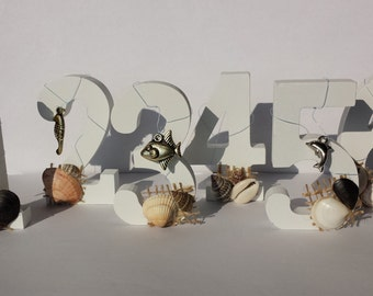 Wedding Table Numbers for a Sea Theme Wedding with Shells, 1-10, Wooden Numbers