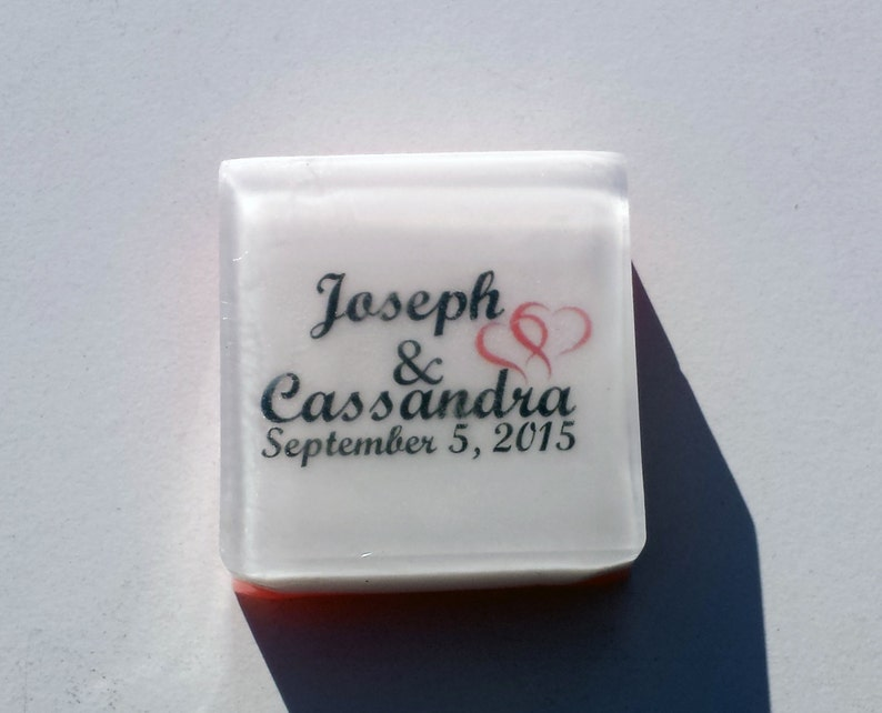 5 pcs Personalized Wedding Favors Soap Choose Your Scent and Color Square Shaped Bridal Shower