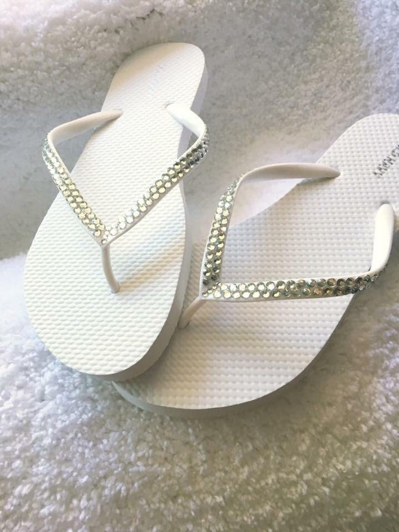 200c3abe3903c Rhinestone Slippers Rhinestone Flip Flops Wedding Sandals