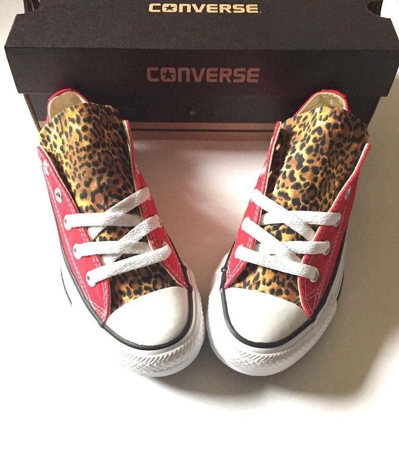 f88c5a431315 Cheetah Print Converse Shoes Custom Red Converse Cheetah