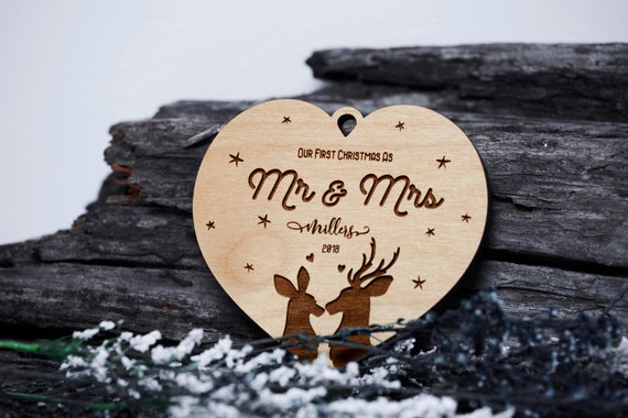 Gift For Newly Wed: MR & Mrs Ornament Our First Christmas Newlywed Gift