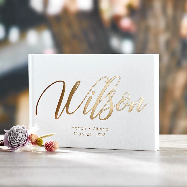 Gold Foil Wedding Guest Book Alternative Custom Wedding White (Blank Pages)