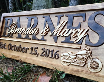 Personalized Motorcycle Gifts Wedding Sign Harley Davidson Couples Gift Custom Wood Last Name