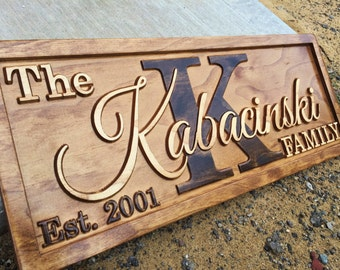 Personalized Anniversary Gift Family Name Sign 5 Year Anniversary Wood Anniversary Gift Established Wood Sign Five Year Custom Wedding Sign