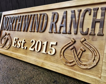 Rustic Wood Sign Personalized Couples Gift Custom Wooden Sign Family Last Name Established Gift Stall Ranch Sign Horse Barn Horseshoe Decor
