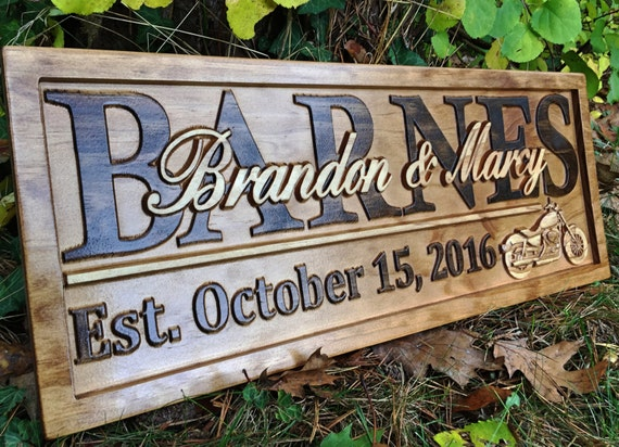 personalized motorcycle gifts motorcycle wedding sign harley etsy