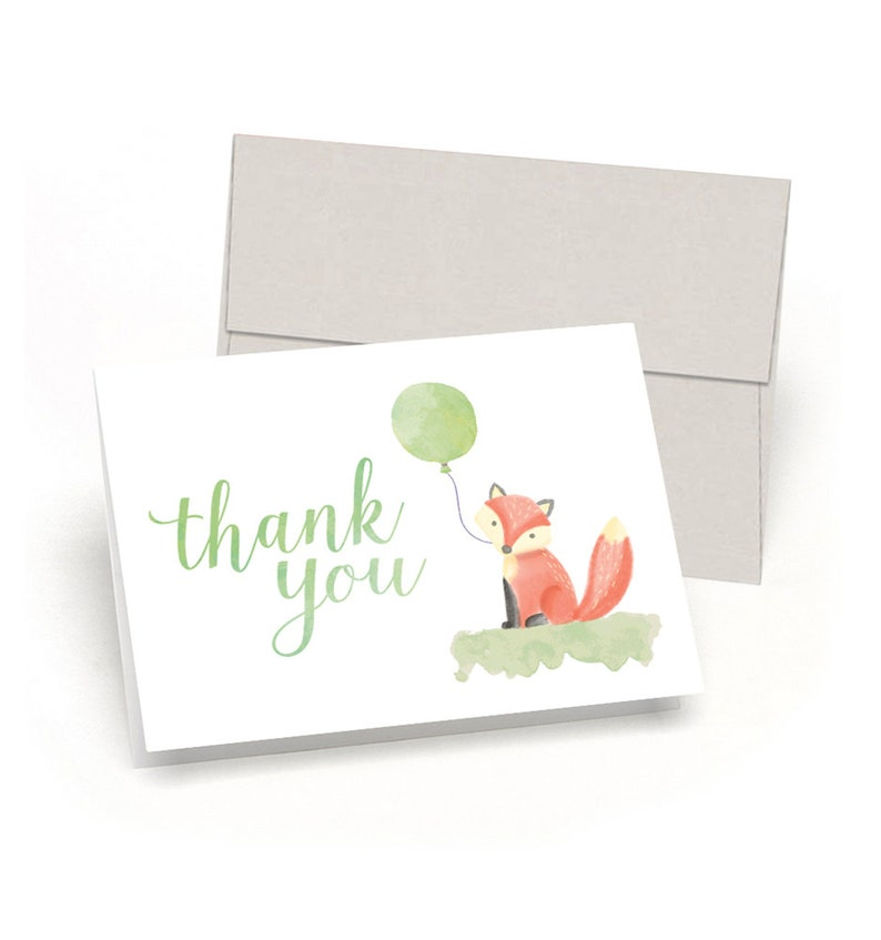 By Palmer Street Press Watercolor Fox /& Balloon Little Fox Baby Shower Thank You Cards