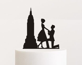 Custom wedding cake topper by Oxee, wedding cake topper, proposal cake decor, empire state building
