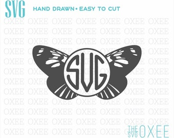 Butterfly monogram SVG by Oxee, circle monogram butterfly svg, kids sign, Cut Files Cricut, Silhouette svg