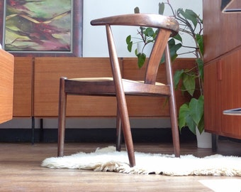 Chair vintage Scandinavian Dyrlund in rosewood and leather