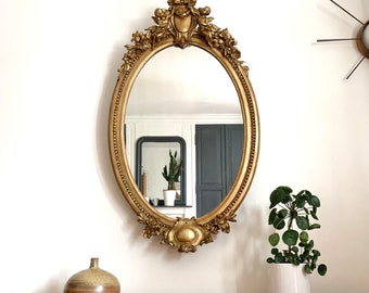 Antique oval wall mirror vintage gilded wood