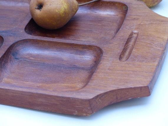 Teak top-vintage aperitif tray-Scandinavian plateau-mid century teak appetizer tray