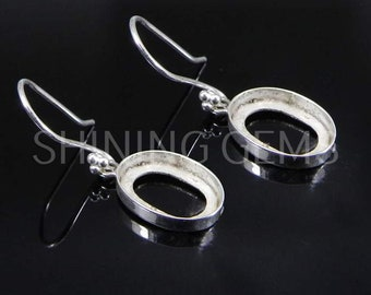 6x3mm collet diy earring 24x12mm marquise Cabochon build your earring 925 sterling silver marquise Bezel Cup earring blank