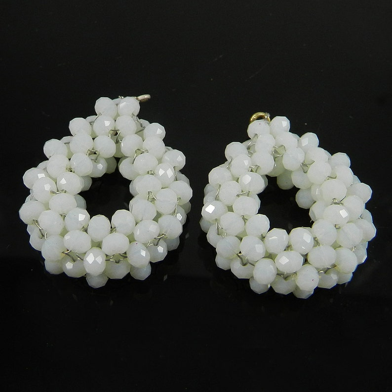 Opalite glass rondelle faceted 40 mm semi precious stone crochet designer single loop connector matching pair for earrings making