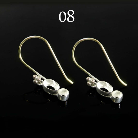 925 sterling silver two shape gemstone bezel cup metal casting for hook earring collet setting