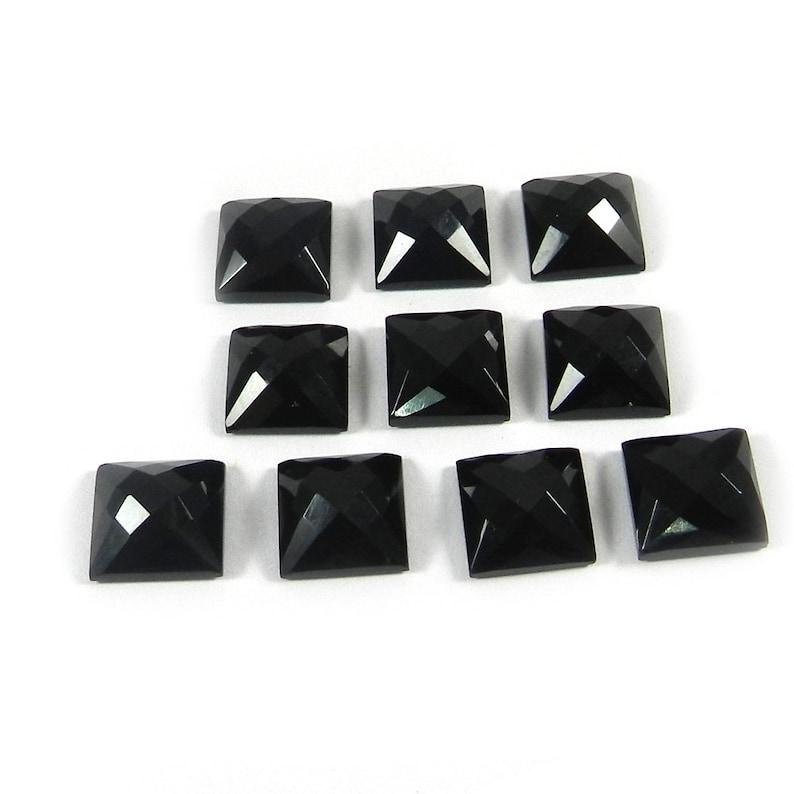 SIX Custom 6x4 6mm x 4mm Oval Checkerboard Black Onyx Cab Cabochon Gem Gemstone