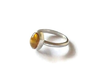 Silver Citrine Ring - November Birthstone Ring - Sterling Silver - Birthday Gift -Statement Ring - Valentine's Gift - Mother's Day Gift
