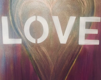 Glow with LOVE! An original painting in acrylic and mixed medium that is sure to send out sparkles-positive vibrations.2ftx3ft