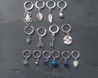 e40546815 hoop earrings with charm, huggie earrings, huggie hoop earrings, tiny silver  hoops
