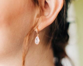 rose gold bridesmaid earrings, wedding earrings