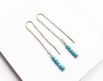 gold threader earrings turquoise gemstone threader earrings, pull through earrings