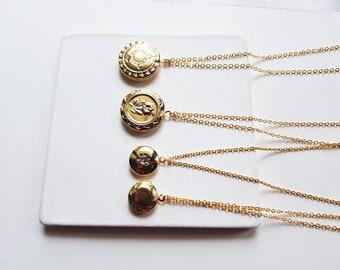 gold locket necklace for photo, keepsake jewelry