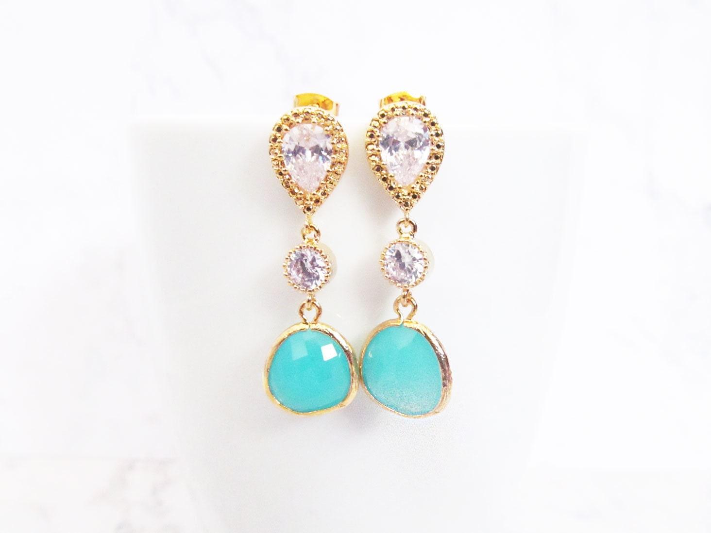 Bridal Bridesmaids Teardrop Earrings Jewelry Filigree Mint Green Drop Earrings Wedding Jewellery Turquoise Gold Chandelier Drop Earrings