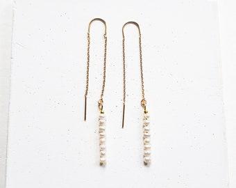 pearl threader earrings, gold chain drop earrings , silver, rose gold, pearl ear thread
