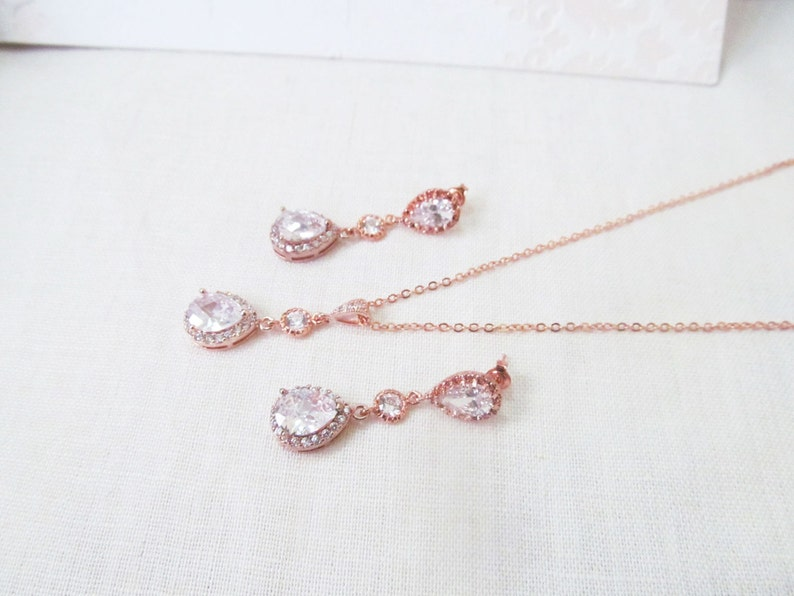 rose gold drop earrings rose gold jewelry set Rose gold earrings and necklace set