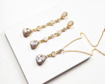Druzy drop earrings, long wedding earrings, cubic zirconia earrings gold