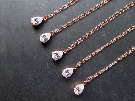 Rose Gold Necklace Dainty Bridesmaid Necklace Bridesmaid Etsy